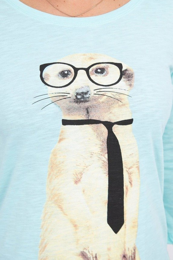 A blouse with a meerkat wearing a tie, mint