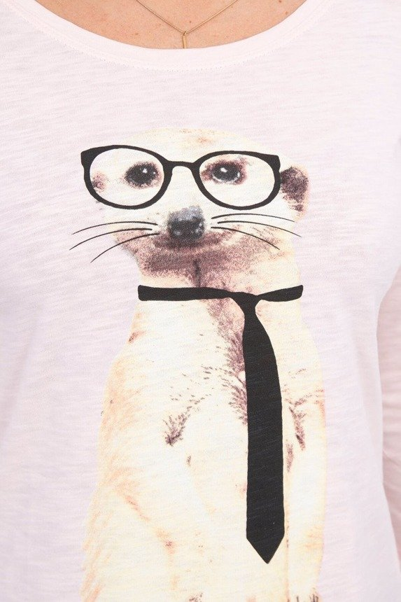 A blouse with a meerkat wearing a tie, powdered pink