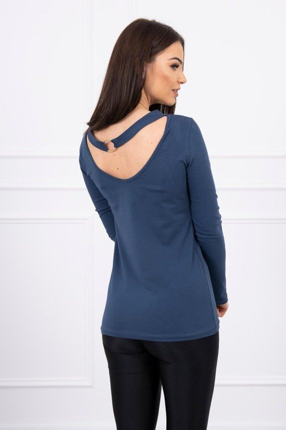A blouse with a neckline on the back navy blue