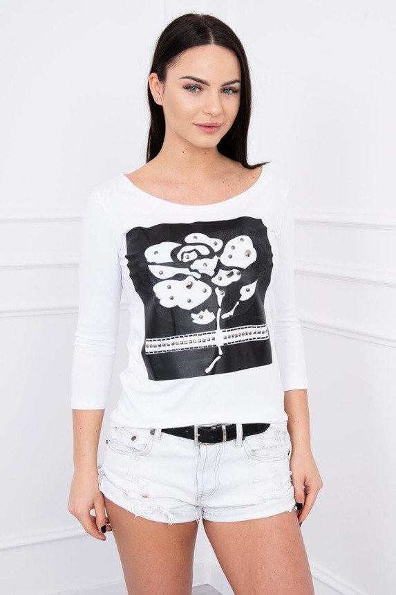 A blouse with a rose and hobnails, white