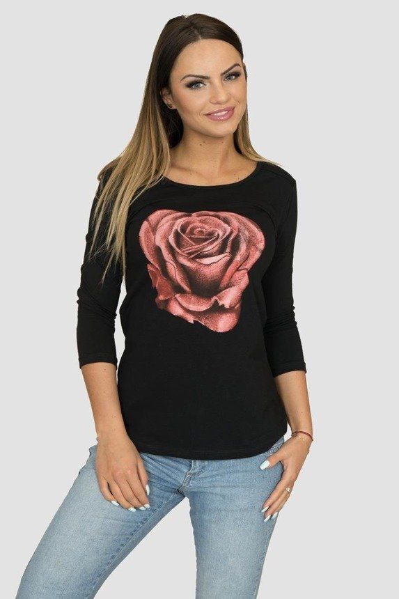 A blouse with a rose, black