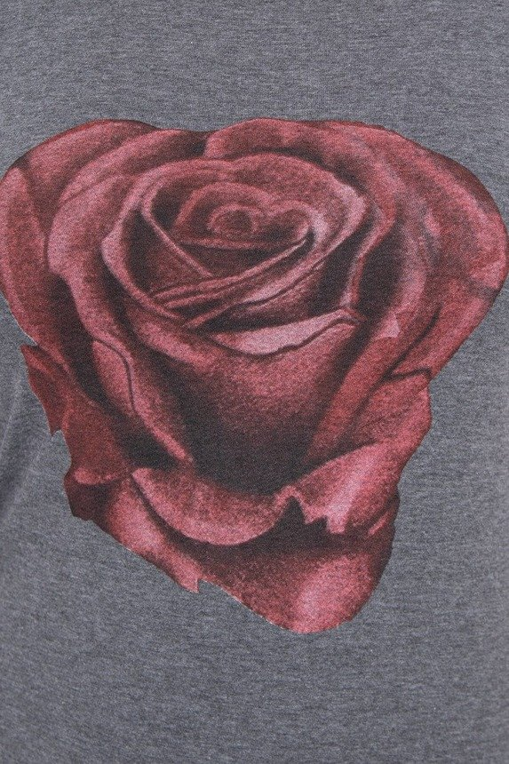 A blouse with a rose, graphite melange