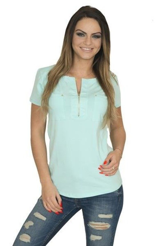 A blouse with a zip at the neckline, mint