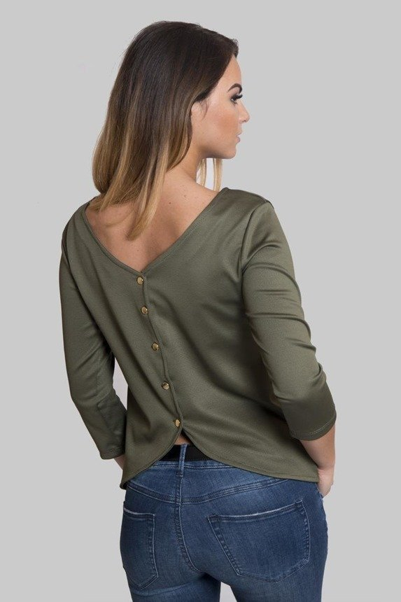 A blouse with buttons at the back, khaki