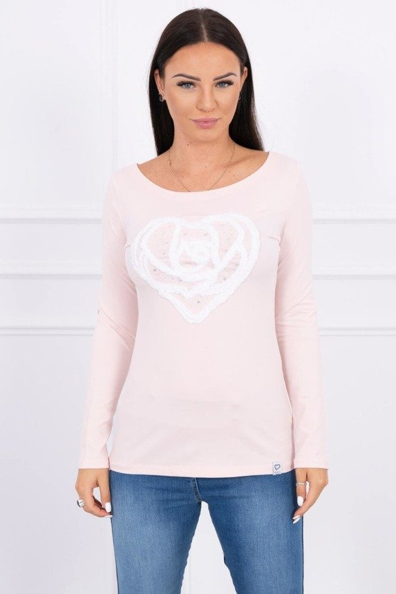 A blouse with heart powdered pink