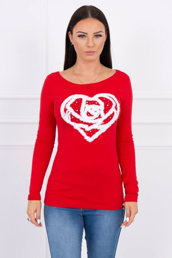 A blouse with heart red