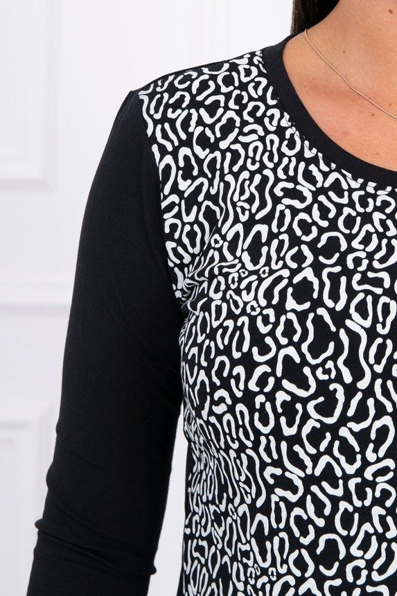 A blouse with imprinted black
