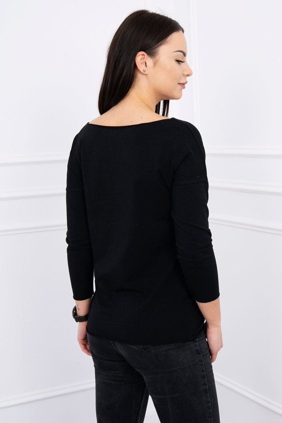 A blouse with imprinted eagle, black