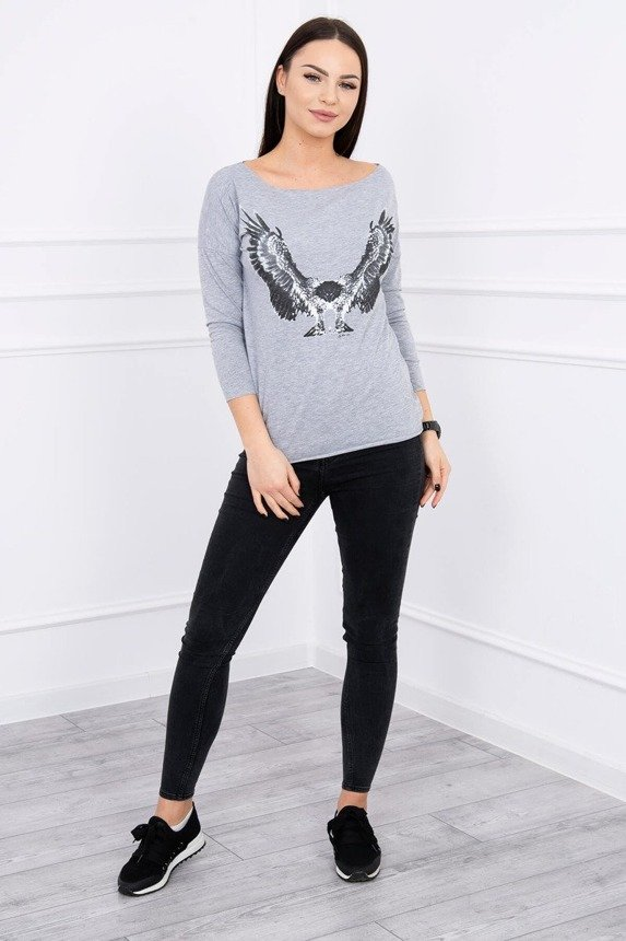 A blouse with imprinted eagle, gray