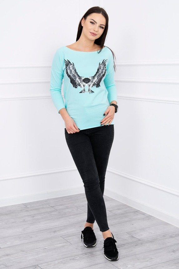 A blouse with imprinted eagle, mint