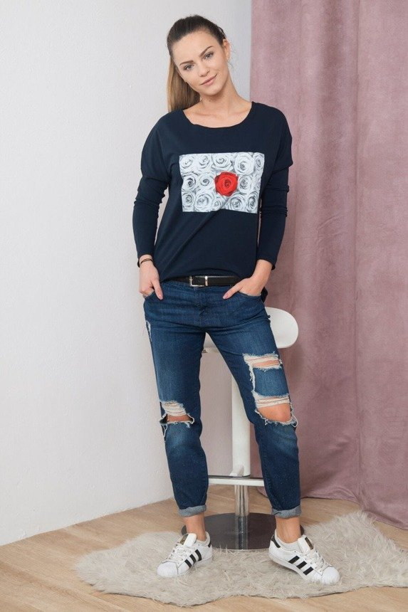 A blouse with imprinted rose, navy-blue
