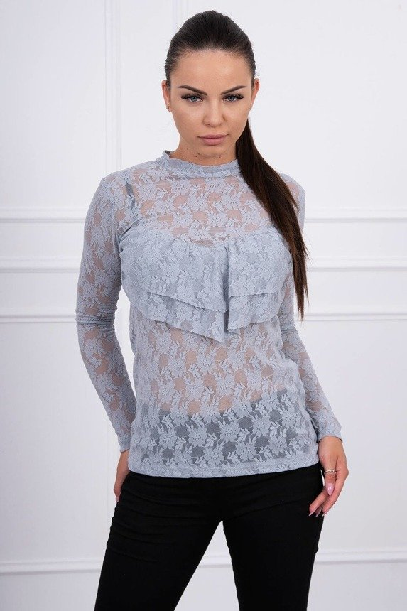A blouse with lace gray