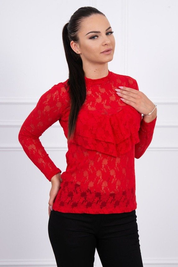 A blouse with lace red