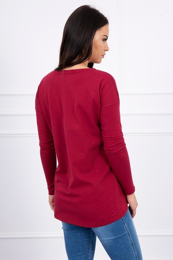 A blouse with large sequins burgundy