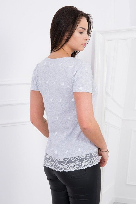 A blouse with little birds and a lace strip, light gray