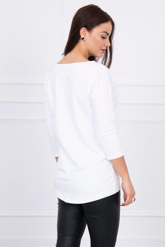 A blouse with neckline white