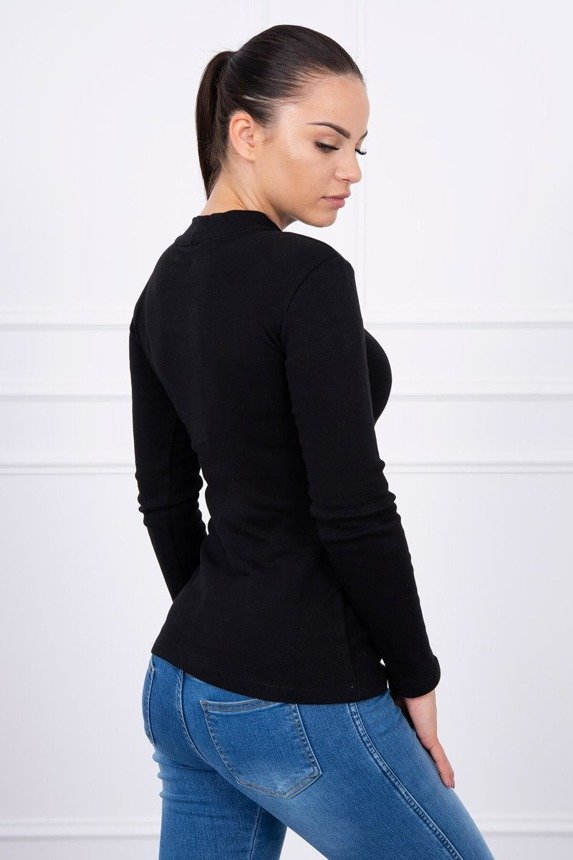 A blouse with pompon black