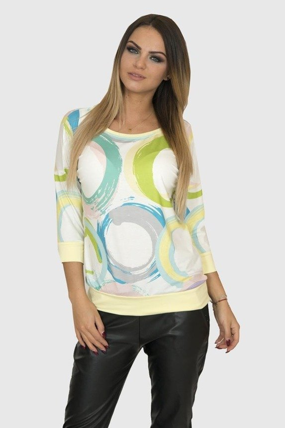 A blouse with rainbow circles, yellow