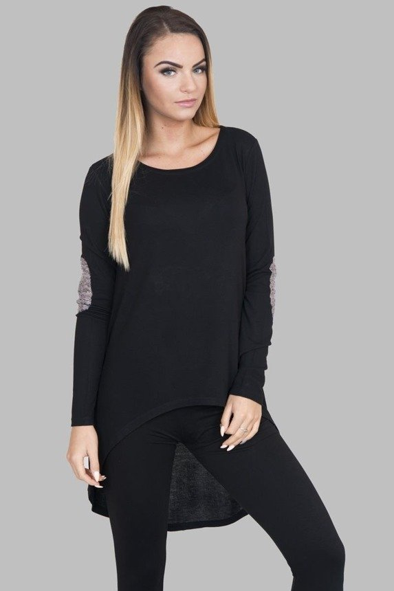 A blouse with sequin patches at elbows, black