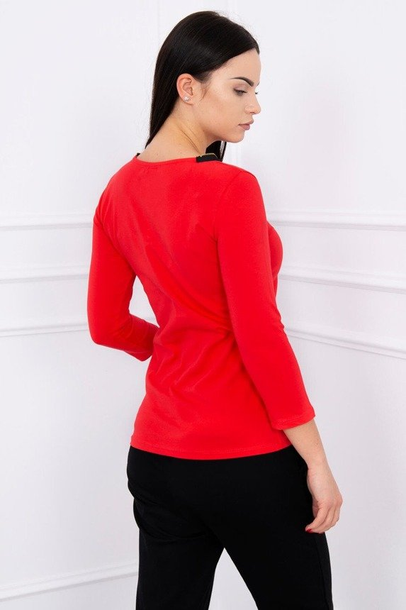 A blouse with zip-fasteners, red