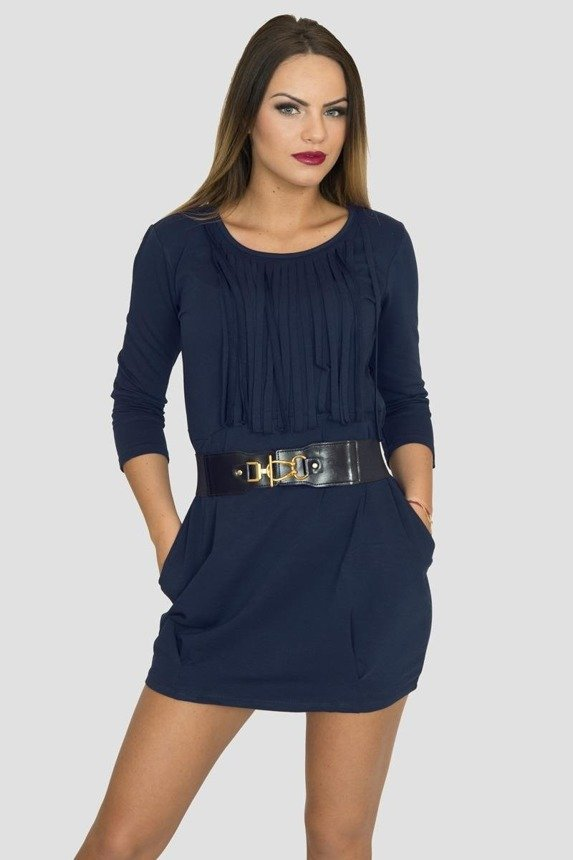 A cotton tunic with widened bottom part, navy-blue