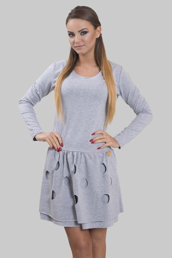 A dress with a double-bottom and cut circles, gray melange