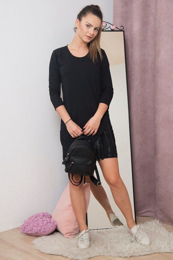 A dress with a large zip in a neckline, black
