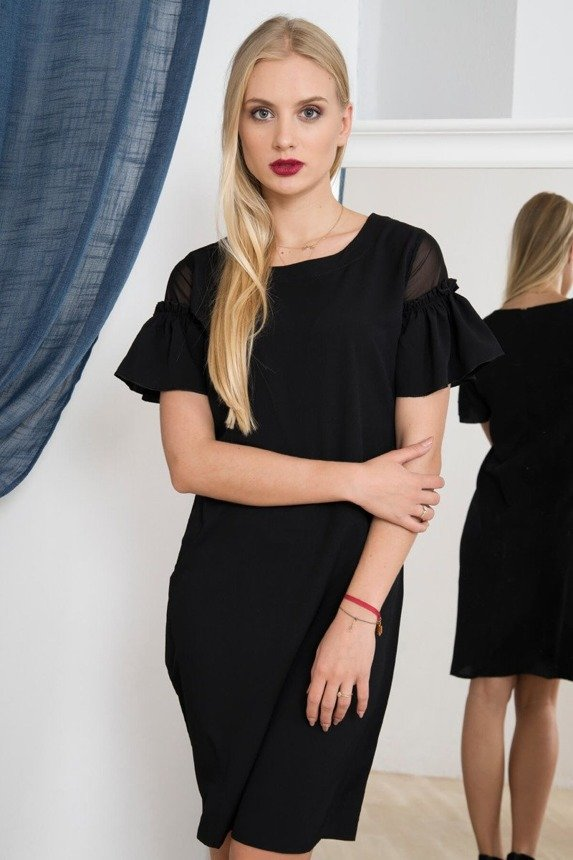 A dress with decorative sleeves black