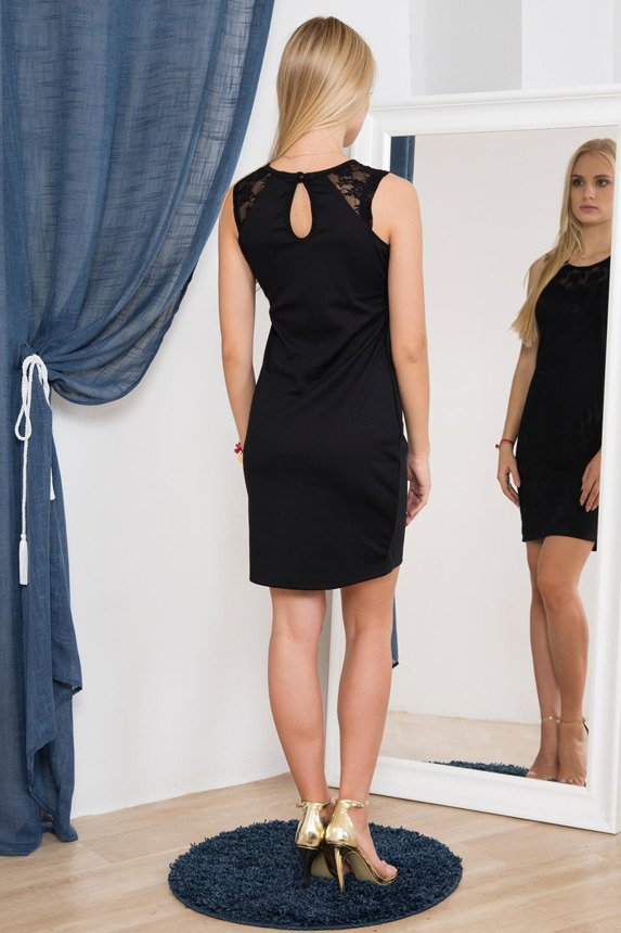 A dress with lace straps black
