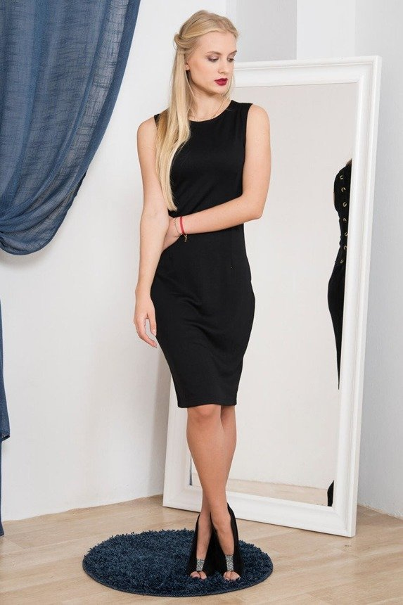 A dress with lacing on the back black