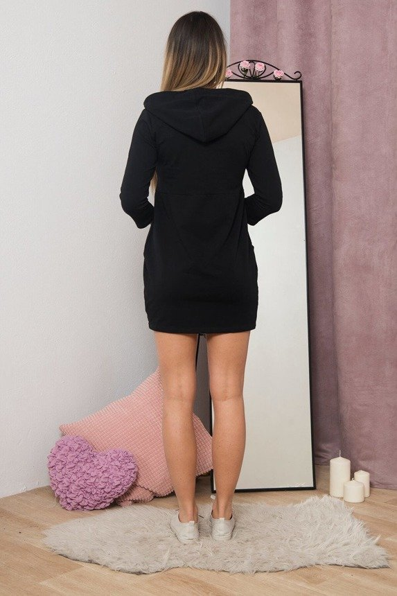 A dress with tied neckline with a hood, black