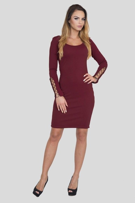 A dress with tied sleeves, mauve-blue