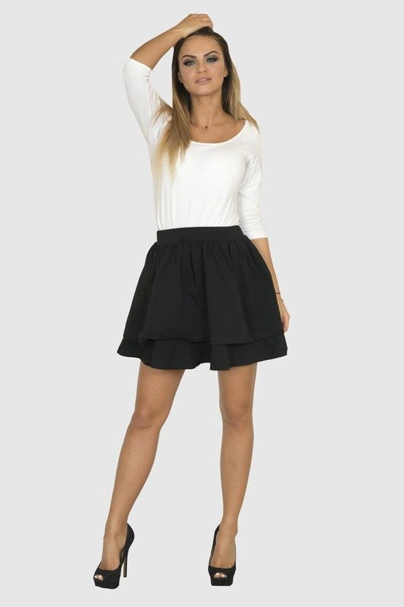 A skirt, two frills, black