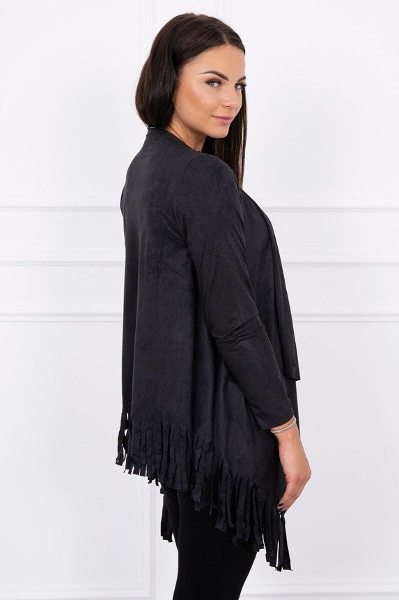 A suede leather coatee with an extended front and tassels, black