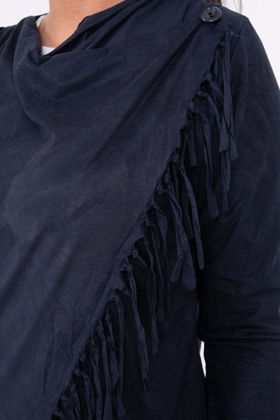 A suede leather coatee with tassels, fastened by a button at the front, navy-blue