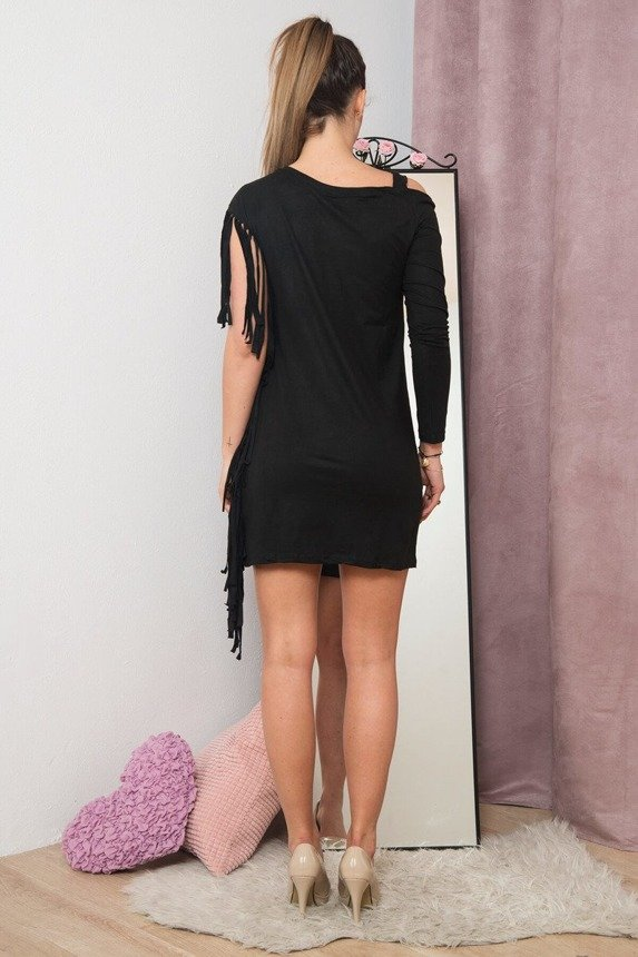 A suede leather dress with a single sleeve and tassels on the other one, black.
