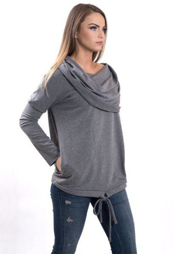 A sweatshirt with a widely rolled collar-hood, light gray