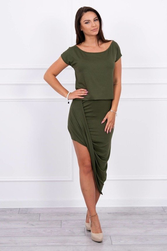 Asymmetric dress khaki