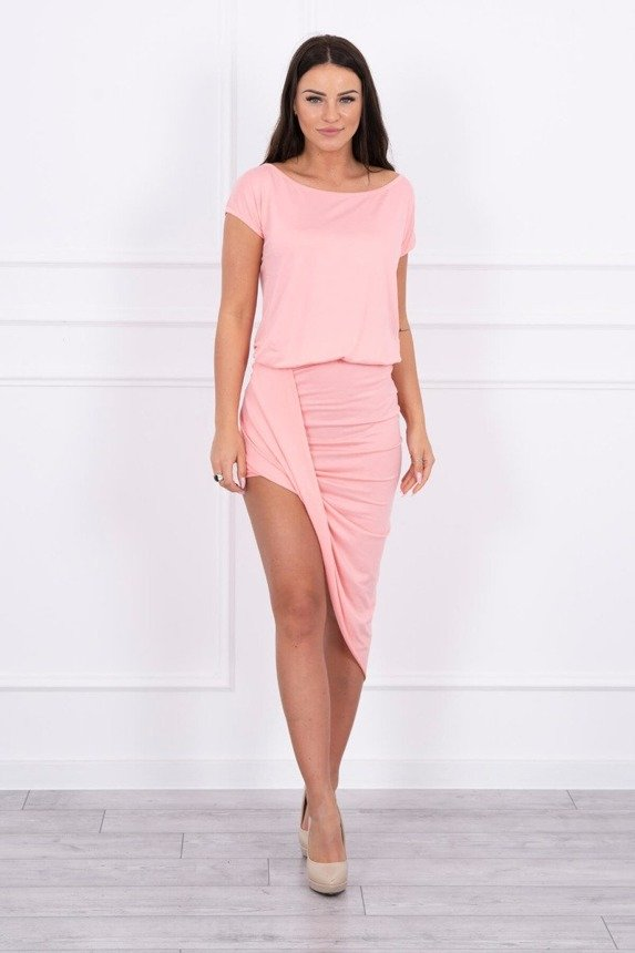 Asymmetric dress salmon