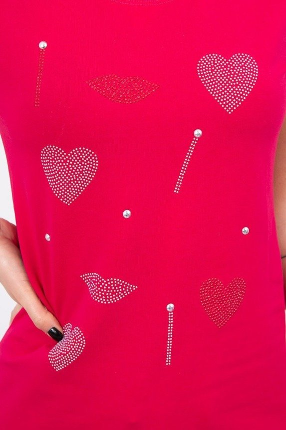 Blouse heart and mouth fuchsia
