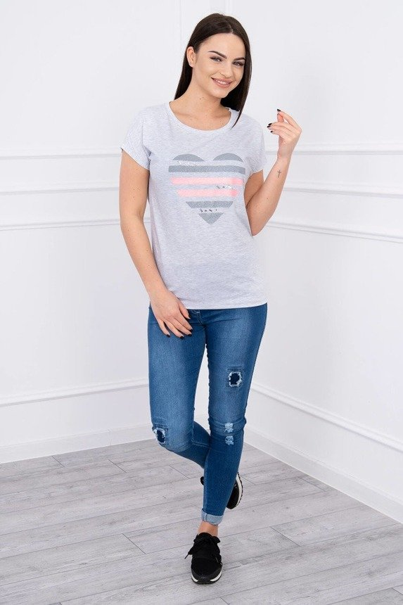 Blouse heart in stripes light gray