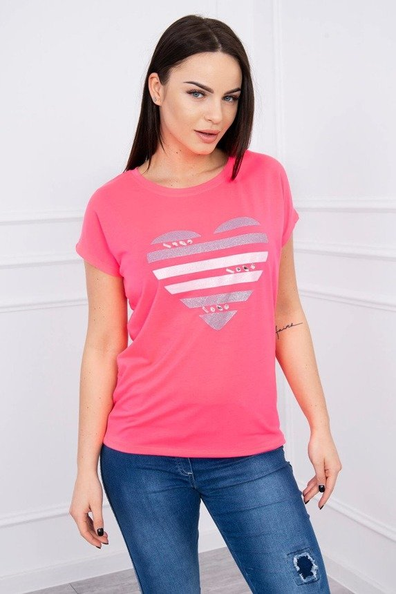Blouse heart in stripes pink neon