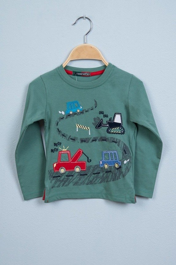 Blouse in cars green (4 pcs.)