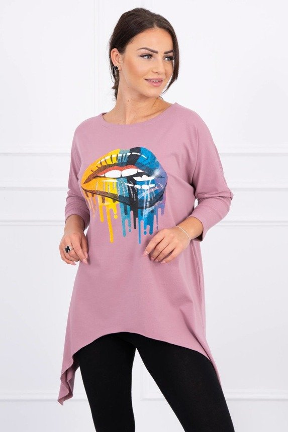 Blouse oversize with rainbow lips print dark pink