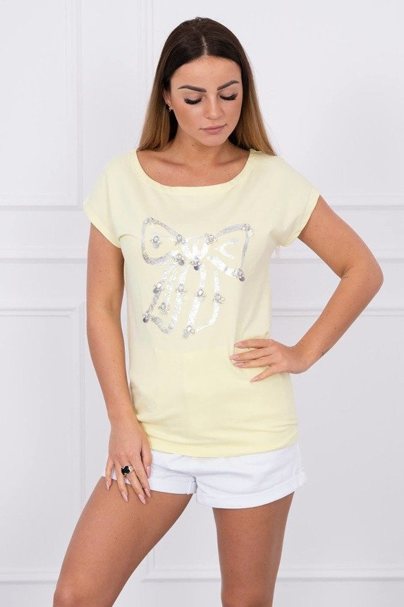 Blouse silver bow yellow