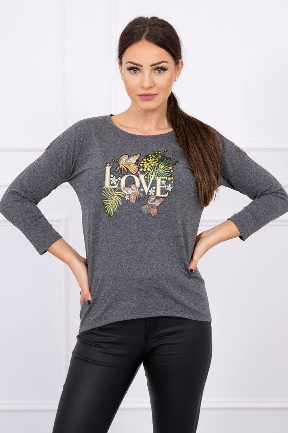 Blouse with Love print graphite