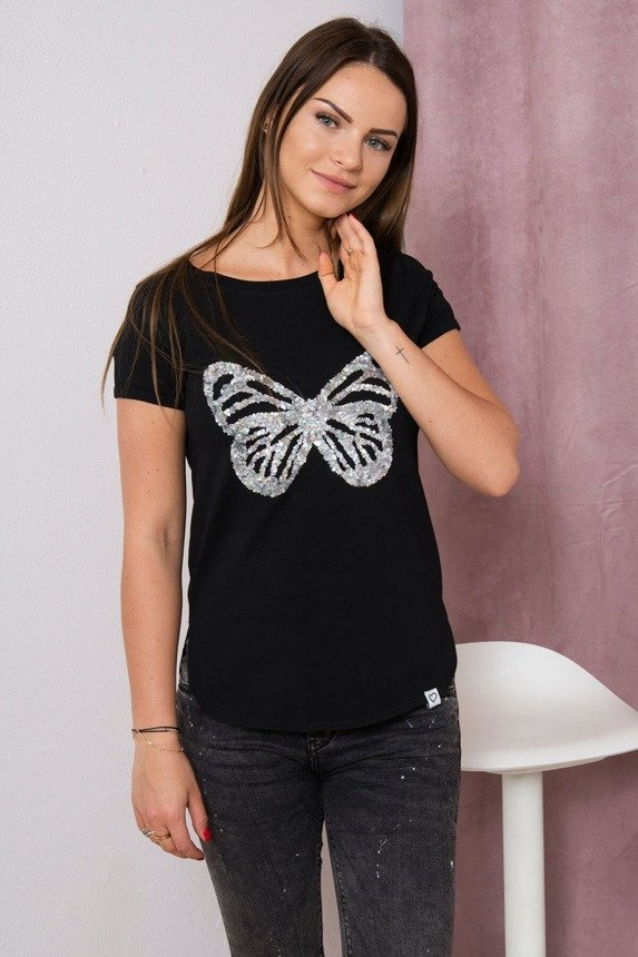 Blouse with a butterfly black