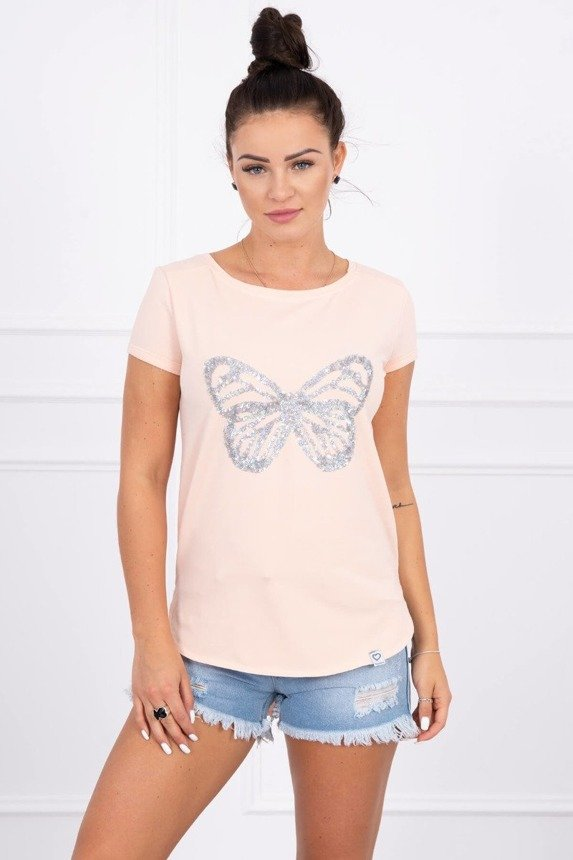 Blouse with a butterfly peachy