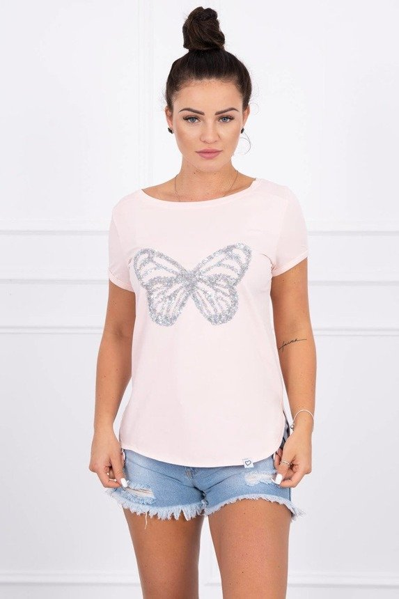 Blouse with a butterfly powdered pink