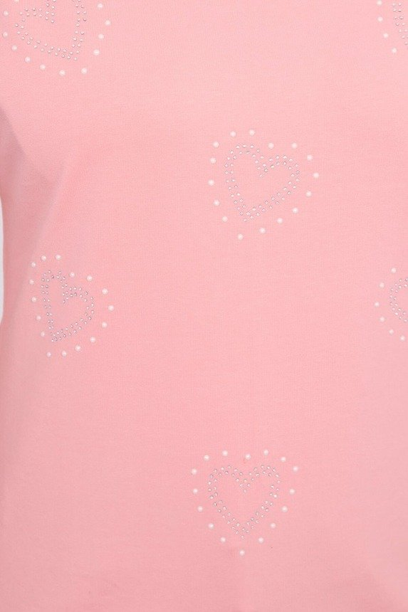 Blouse with decorative hearts pink